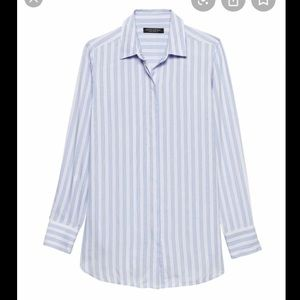 Banana Republic Parker Tunic Fit Stripe Shirt EUC